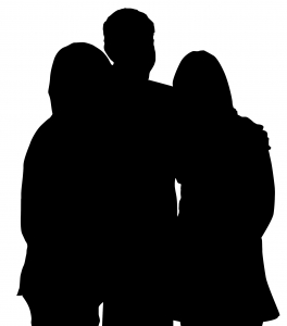 Silhouette picture of friends